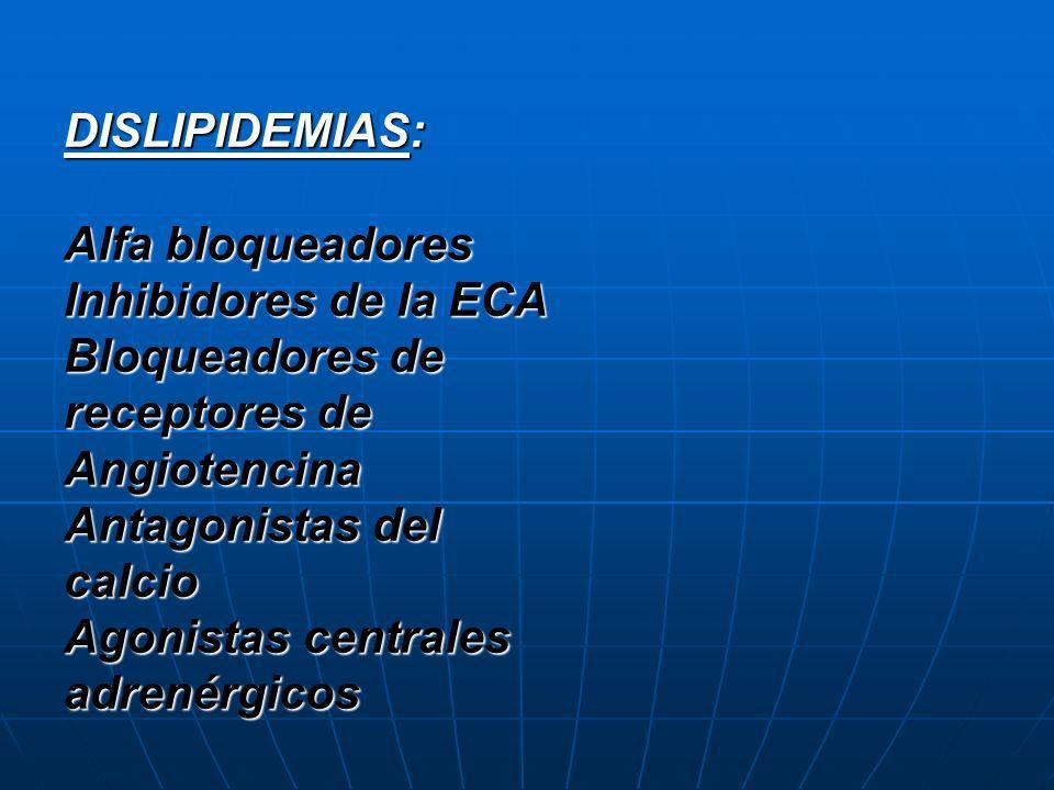 DISLIPIDEMIAS: Alfa bloqueadores Inhibidores de la ECA Bloqueadores de receptores de Angiotencina Antagonistas del calcio Agonistas centrales adrenérg