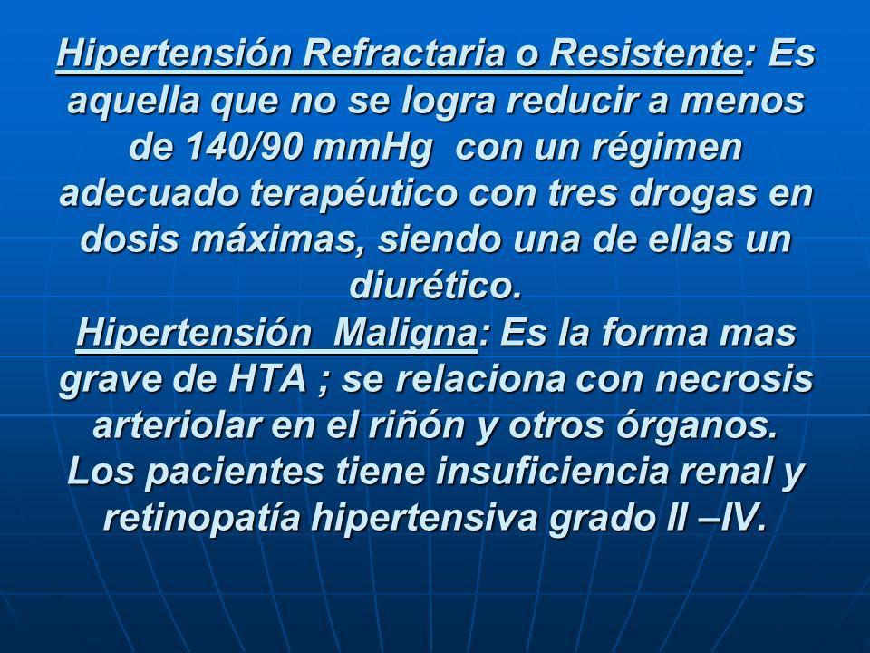Hipertensión Refractaria o Resistente: Es aquella que no se logra reducir a menos de 140/90 mmHg con un régimen adecuado terapéutico con tres drogas e