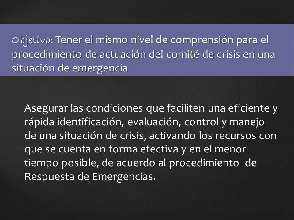 Objetivo: Tener el mismo nivel de comprensión para el procedimiento de actuación del comité de crisis en una situación de emergencia Asegurar las cond