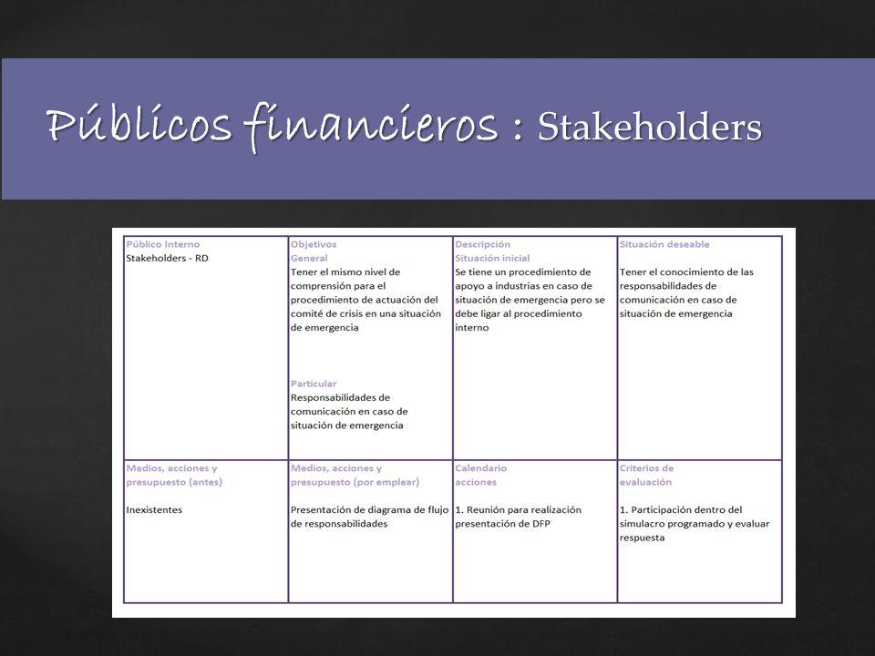 Públicos financieros : Stakeholders