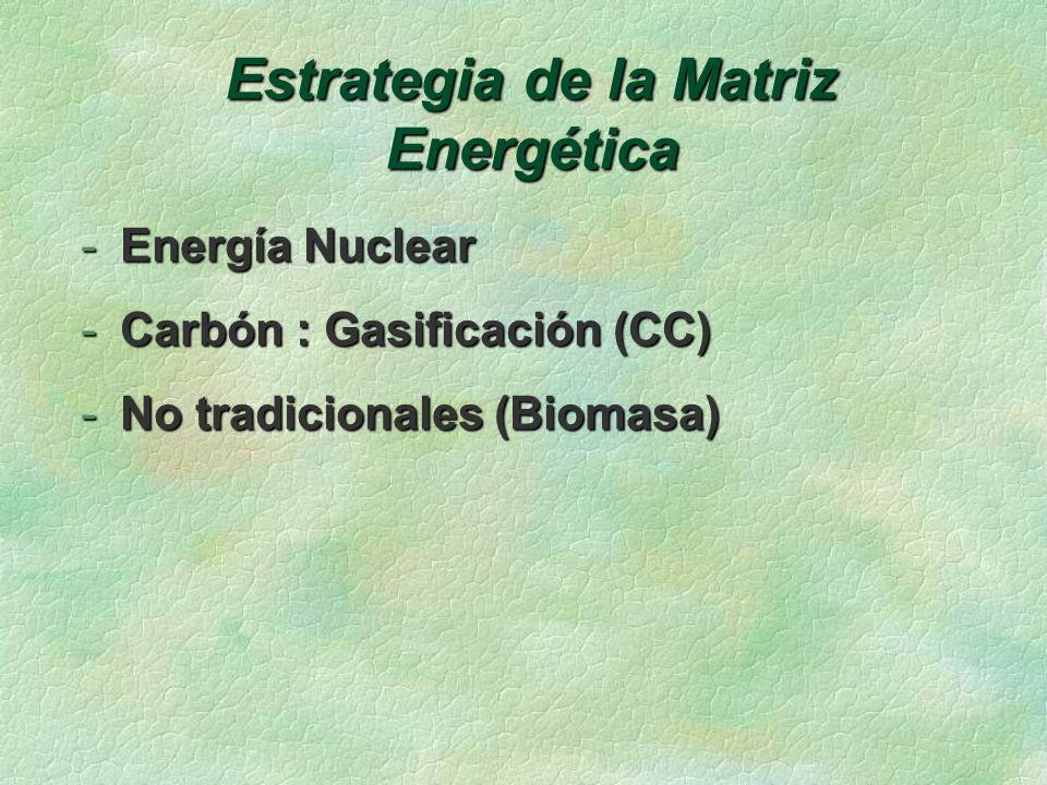 Estrategia de la Matriz Energética -Energía Nuclear -Carbón : Gasificación (CC) -No tradicionales (Biomasa)