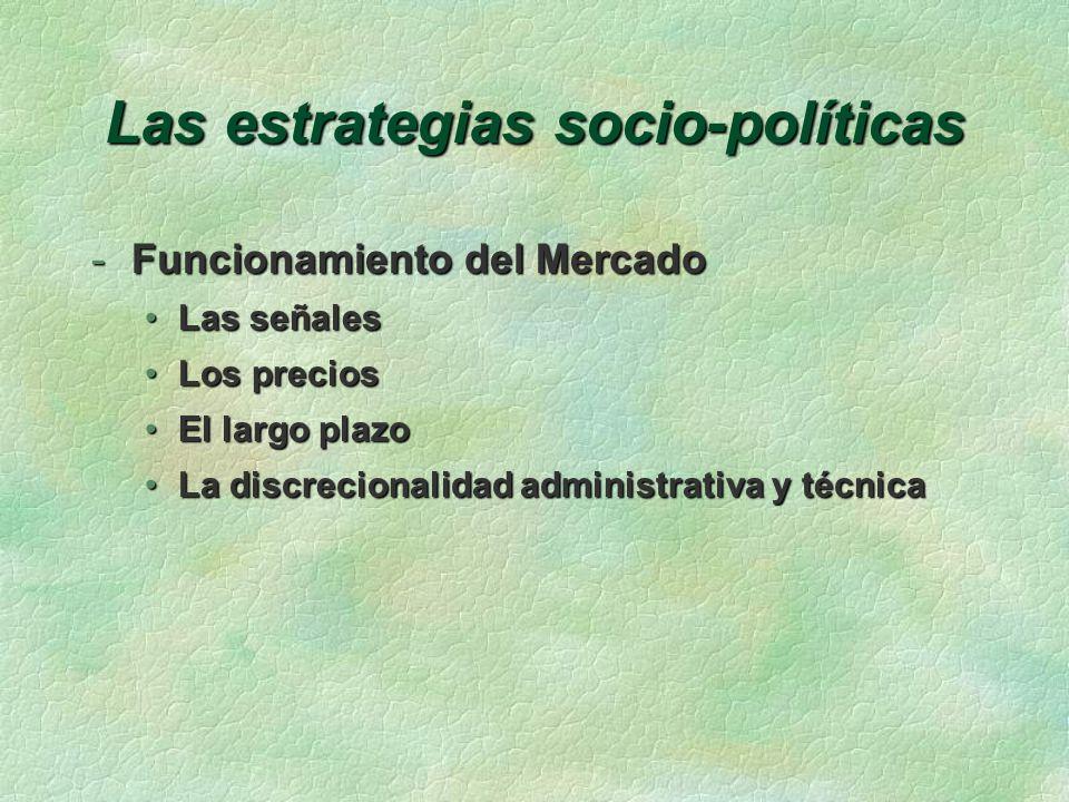 Las estrategias socio-políticas -Funcionamiento del Mercado Las señalesLas señales Los preciosLos precios El largo plazoEl largo plazo La discrecionalidad administrativa y técnicaLa discrecionalidad administrativa y técnica
