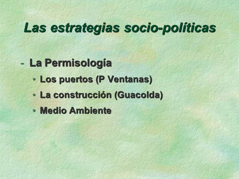 Las estrategias socio-políticas -El Medio Ambiente Acuerdo empresarial con el MAAcuerdo empresarial con el MA La legislación vigenteLa legislación vigente Las autoridadesLas autoridades Validez de permisos y autorizacionesValidez de permisos y autorizaciones Los ambientalistas radicalesLos ambientalistas radicales Los aprovechadoresLos aprovechadores