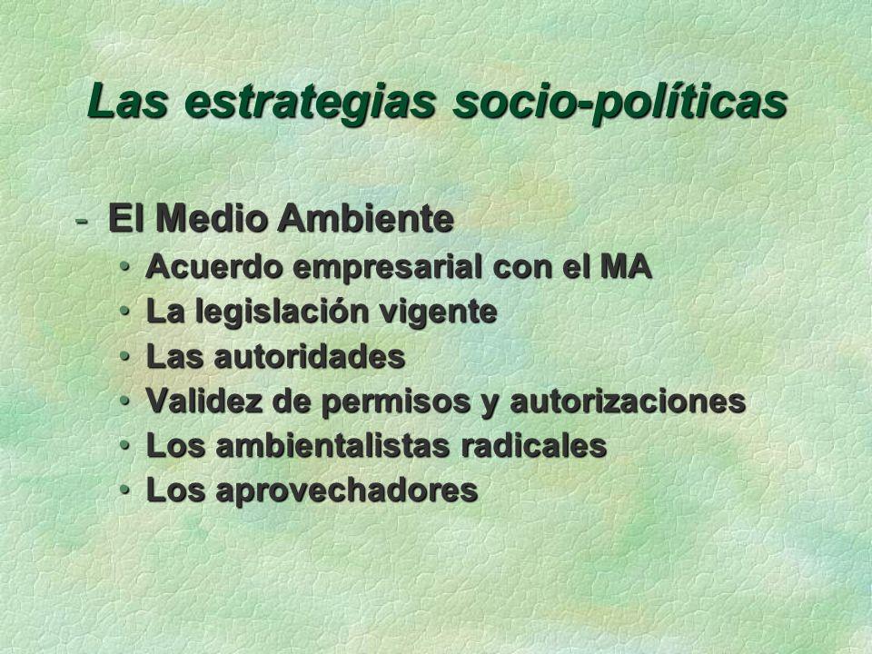 Las estrategias socio-políticas -Responsabilidad Social Corporativa Buen ciudadanoBuen ciudadano Permiso de OperarPermiso de Operar Rentabilidad y vinculación socialRentabilidad y vinculación social
