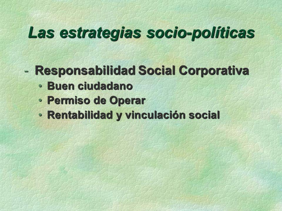 Las estrategias socio-políticas -Responsabilidad Social Corporativa Buen ciudadanoBuen ciudadano Permiso de OperarPermiso de Operar Rentabilidad y vin