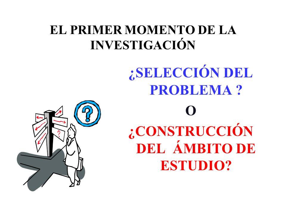 EL PRIMER MOMENTO DE LA INVESTIGACIÓN ¿SELECCIÓN DEL PROBLEMA ? O ¿CONSTRUCCIÓN DEL ÁMBITO DE ESTUDIO?