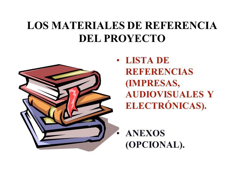 LOS MATERIALES DE REFERENCIA DEL PROYECTO LISTA DE REFERENCIAS (IMPRESAS, AUDIOVISUALES Y ELECTRÓNICAS). ANEXOS (OPCIONAL).