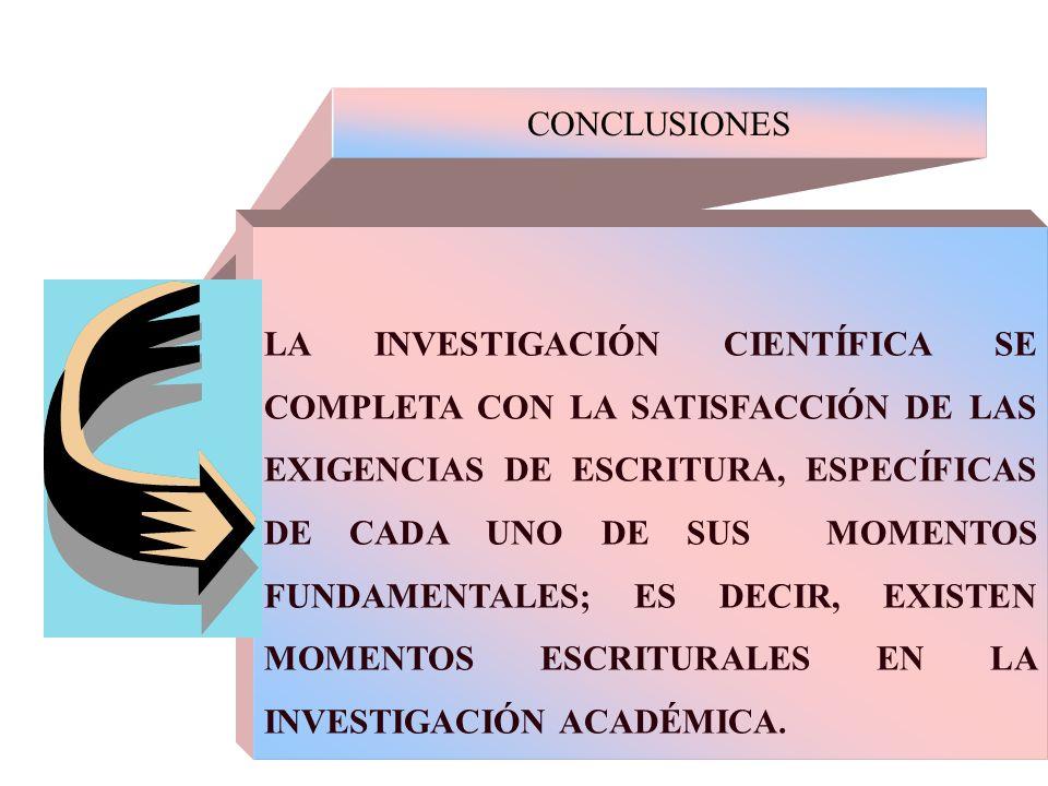 CONCLUSIONES LA INVESTIGACIÓN CIENTÍFICA SE COMPLETA CON LA SATISFACCIÓN DE LAS EXIGENCIAS DE ESCRITURA, ESPECÍFICAS DE CADA UNO DE SUS MOMENTOS FUNDA