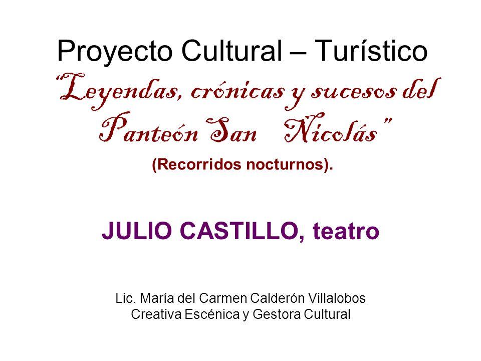 Proyecto Cultural – Turístico Leyendas, crónicas y sucesos del Panteón San Nicolás (Recorridos nocturnos). JULIO CASTILLO, teatro Lic. María del Carme