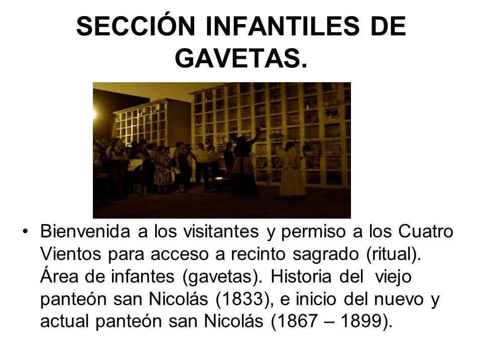 SECCIÓN INFANTILES DE GAVETAS. Bienvenida a los visitantes y permiso a los Cuatro Vientos para acceso a recinto sagrado (ritual). Área de infantes (ga