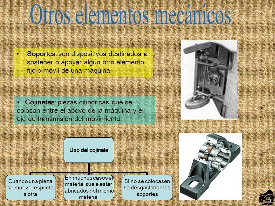 Soportes: son dispositivos destinados a sostener o apoyar algún otro elemento fijo o móvil de una máquina Cojinetes: piezas cilíndricas que se colocan