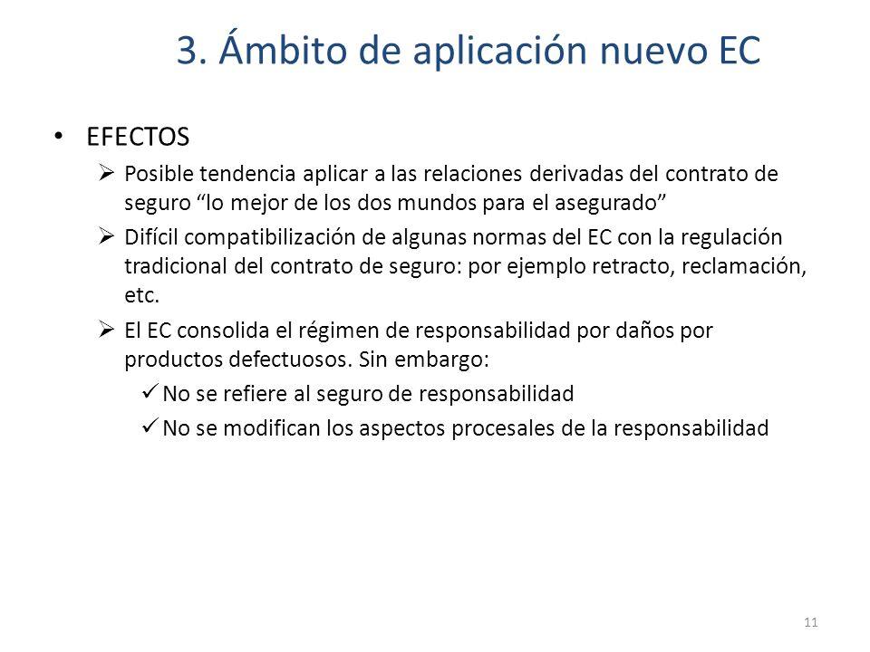3. Ámbito de aplicación nuevo EC EFECTOS Posible tendencia aplicar a las relaciones derivadas del contrato de seguro lo mejor de los dos mundos para e
