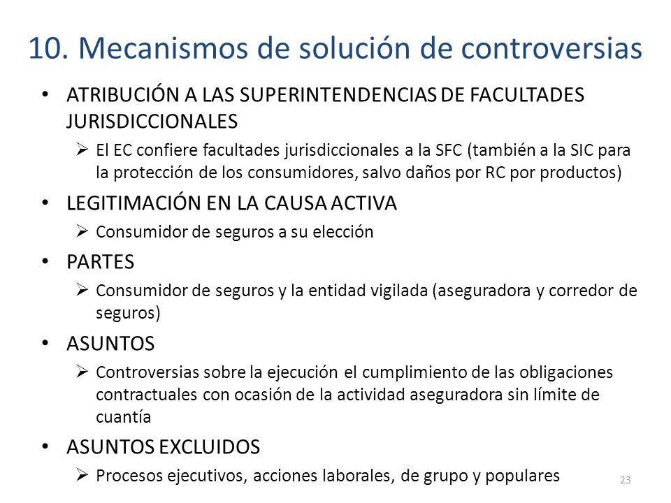 10. Mecanismos de solución de controversias ATRIBUCIÓN A LAS SUPERINTENDENCIAS DE FACULTADES JURISDICCIONALES El EC confiere facultades jurisdiccional