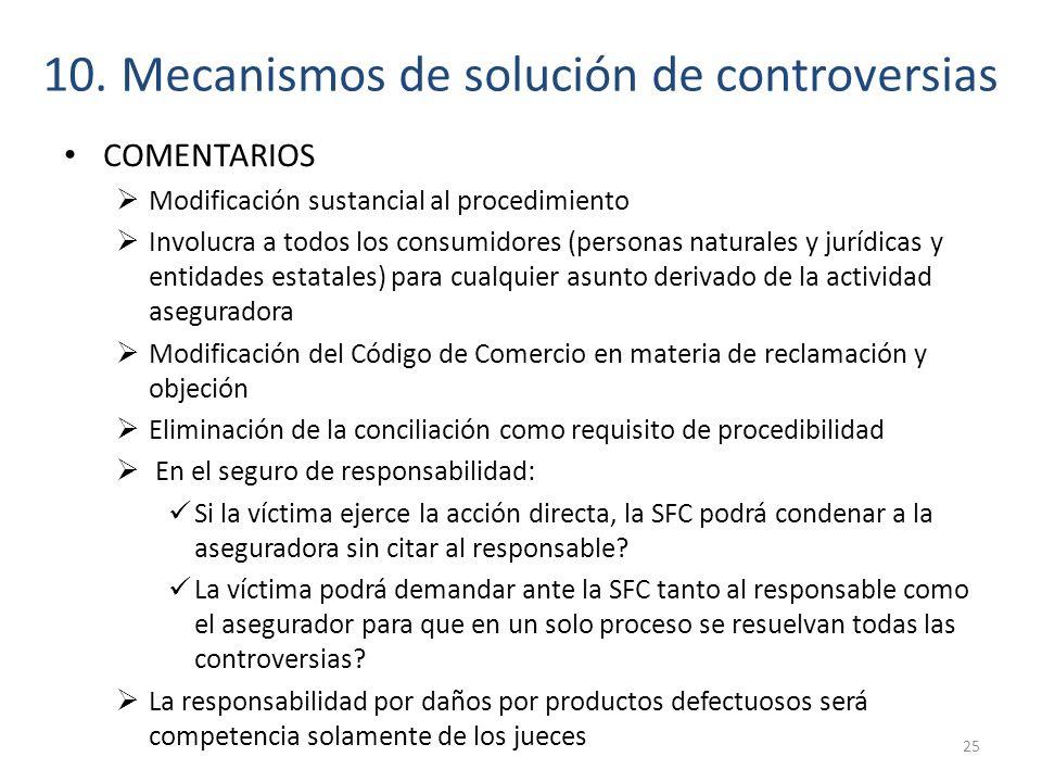 10. Mecanismos de solución de controversias COMENTARIOS Modificación sustancial al procedimiento Involucra a todos los consumidores (personas naturale
