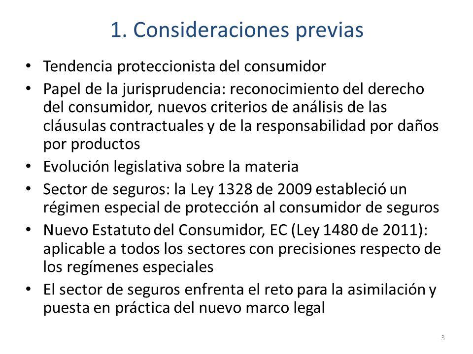 1. Consideraciones previas Tendencia proteccionista del consumidor Papel de la jurisprudencia: reconocimiento del derecho del consumidor, nuevos crite