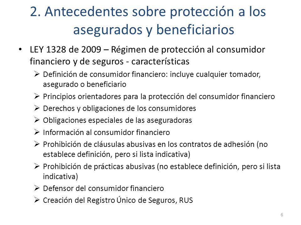 2. Antecedentes sobre protección a los asegurados y beneficiarios LEY 1328 de 2009 – Régimen de protección al consumidor financiero y de seguros - car