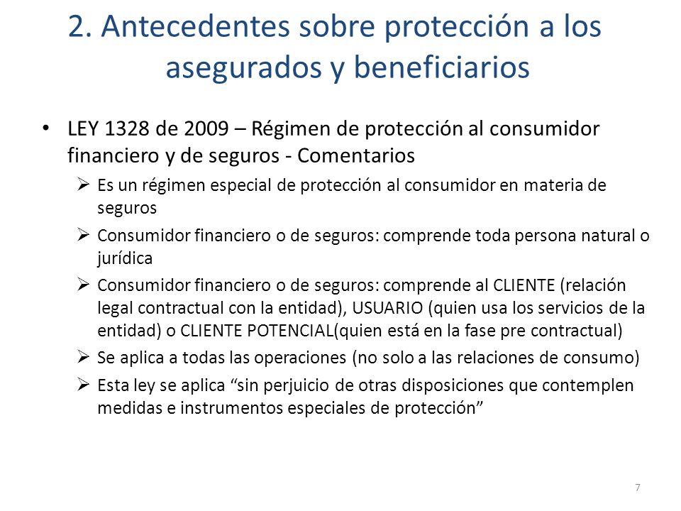 2. Antecedentes sobre protección a los asegurados y beneficiarios LEY 1328 de 2009 – Régimen de protección al consumidor financiero y de seguros - Com