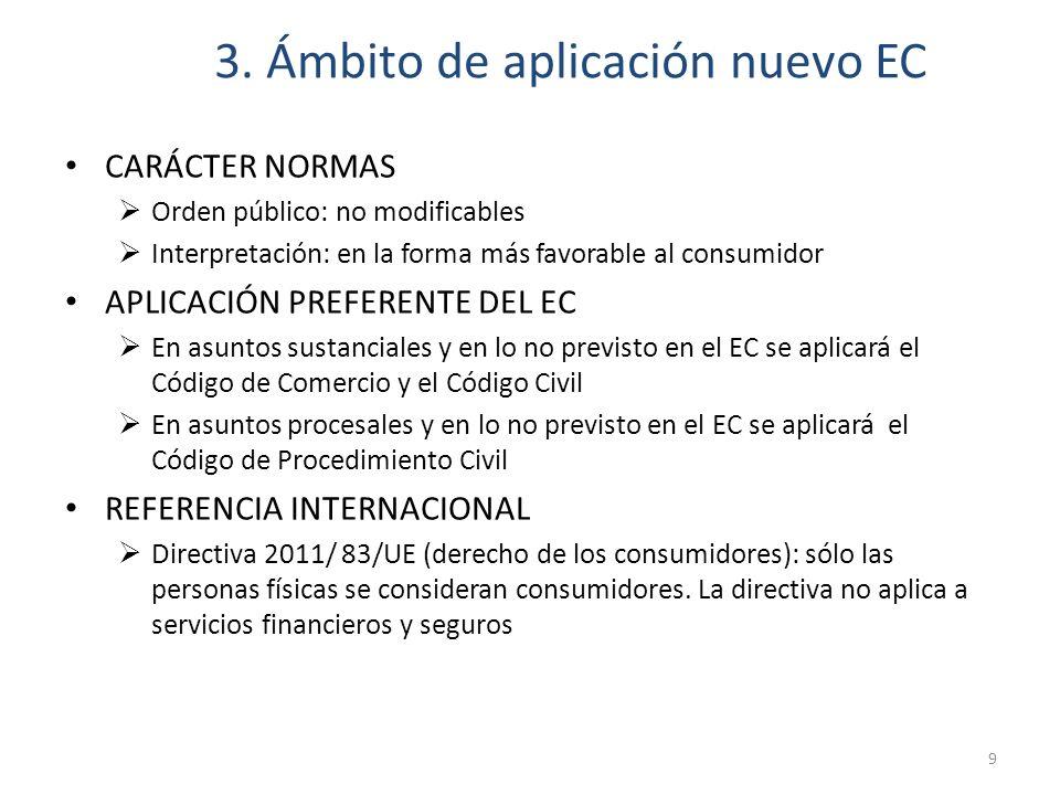 3. Ámbito de aplicación nuevo EC CARÁCTER NORMAS Orden público: no modificables Interpretación: en la forma más favorable al consumidor APLICACIÓN PRE