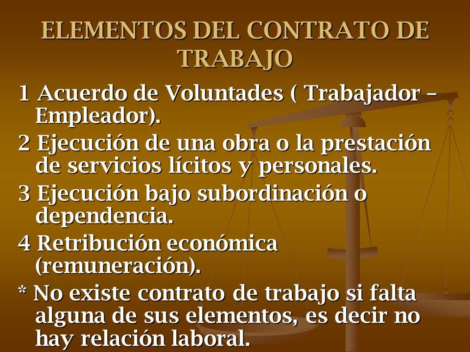 ELEMENTOS DEL CONTRATO DE TRABAJO 1 Acuerdo de Voluntades ( Trabajador – Empleador). 2 Ejecución de una obra o la prestación de servicios lícitos y pe