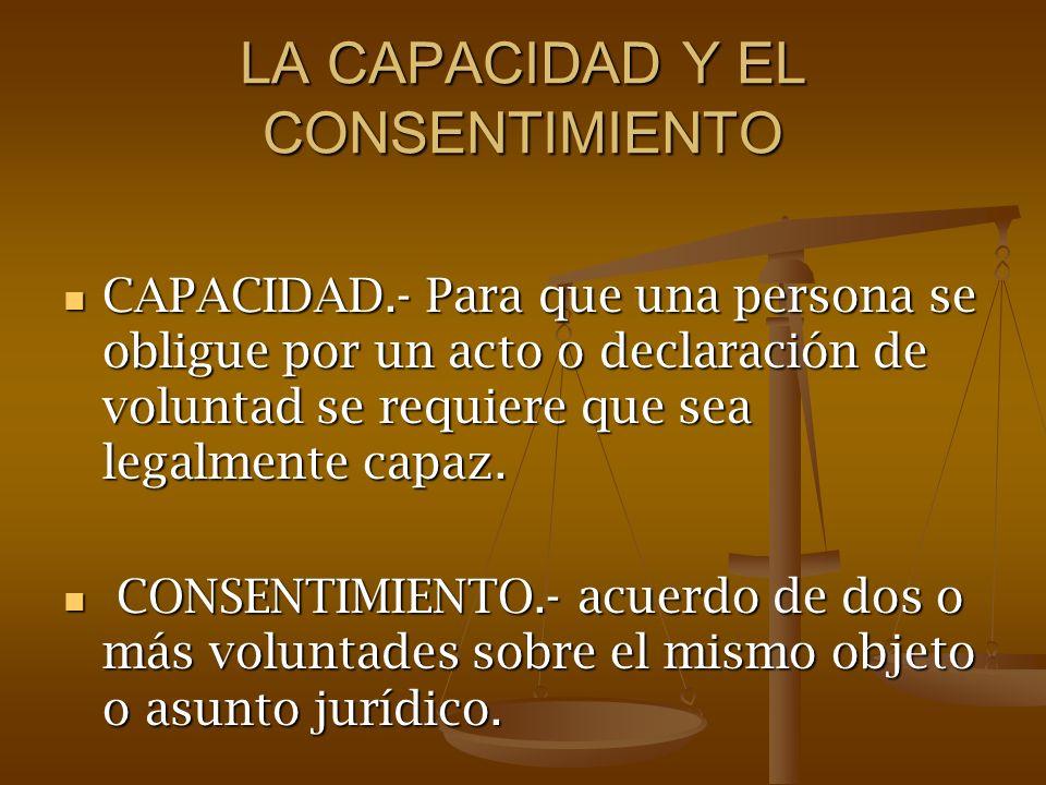 LA CAPACIDAD Y EL CONSENTIMIENTO CAPACIDAD.- Para que una persona se obligue por un acto o declaración de voluntad se requiere que sea legalmente capa