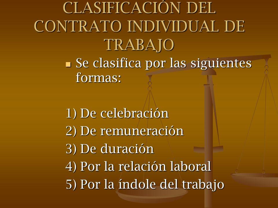 CLASIFICACIÓN DEL CONTRATO INDIVIDUAL DE TRABAJO Se clasifica por las siguientes formas: Se clasifica por las siguientes formas: 1) De celebración 2)