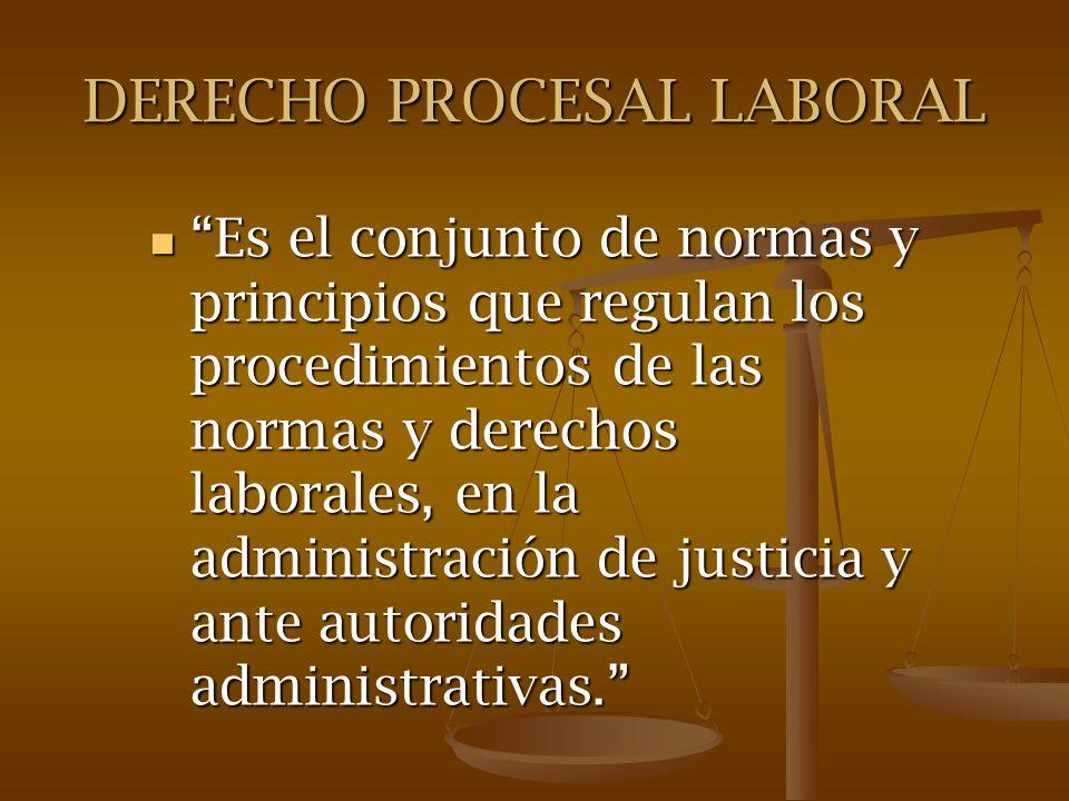 DERECHO PROCESAL LABORAL Es el conjunto de normas y principios que regulan los procedimientos de las normas y derechos laborales, en la administración