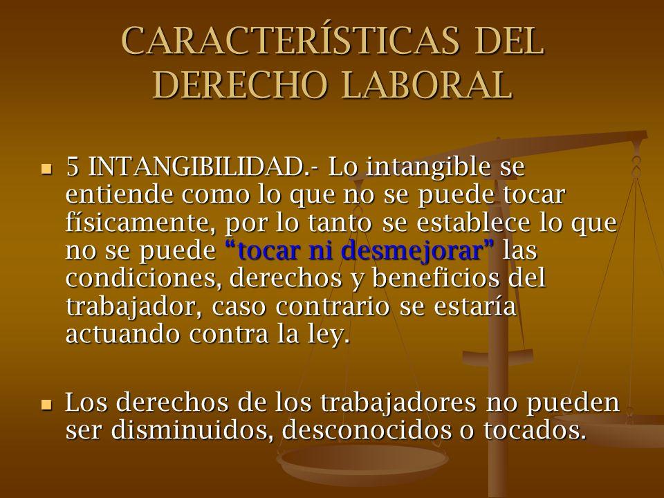 CARACTERÍSTICAS DEL DERECHO LABORAL 5 INTANGIBILIDAD.- Lo intangible se entiende como lo que no se puede tocar físicamente, por lo tanto se establece