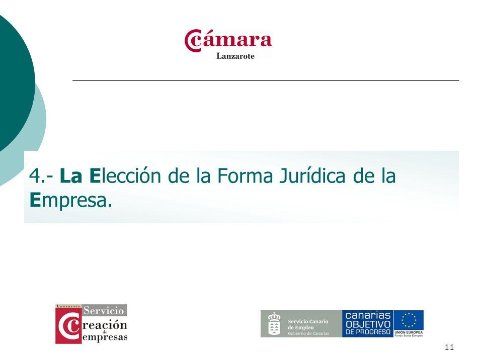 11 4.- La Elección de la Forma Jurídica de la Empresa.