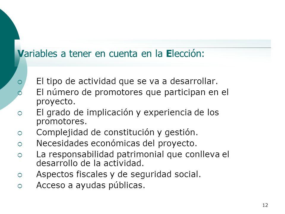 12 Variables a tener en cuenta en la Elección: El tipo de actividad que se va a desarrollar. El número de promotores que participan en el proyecto. El