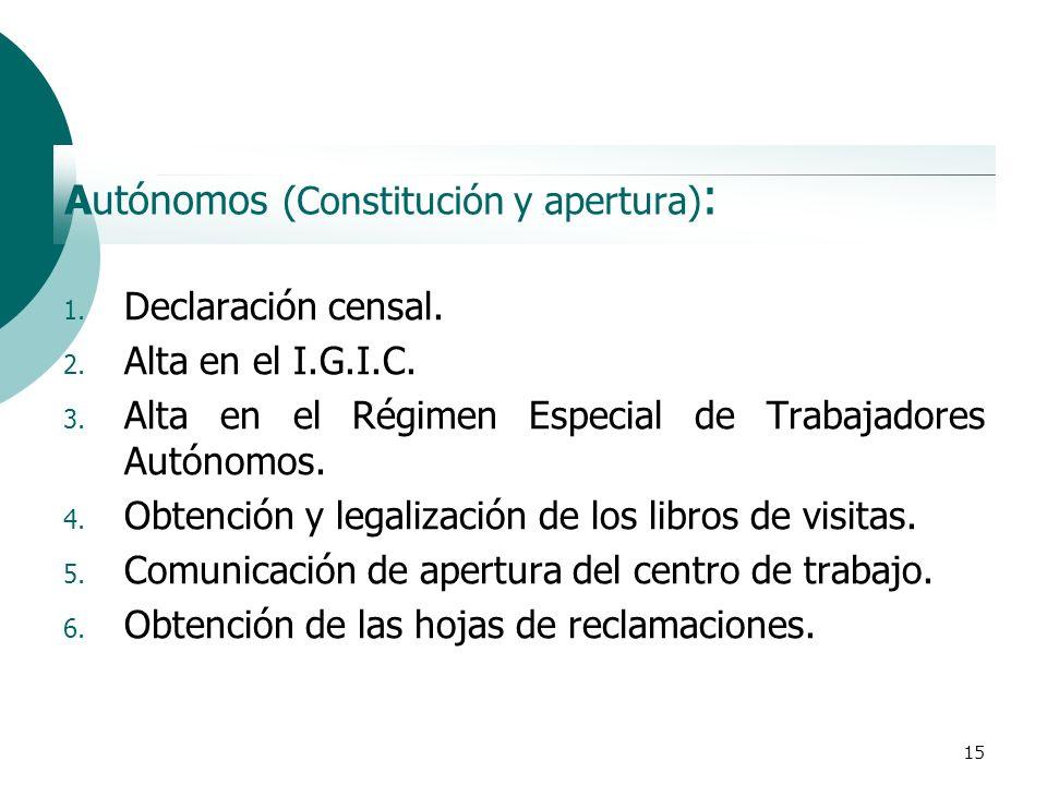 15 Autónomos (Constitución y apertura) : 1. Declaración censal. 2. Alta en el I.G.I.C. 3. Alta en el Régimen Especial de Trabajadores Autónomos. 4. Ob