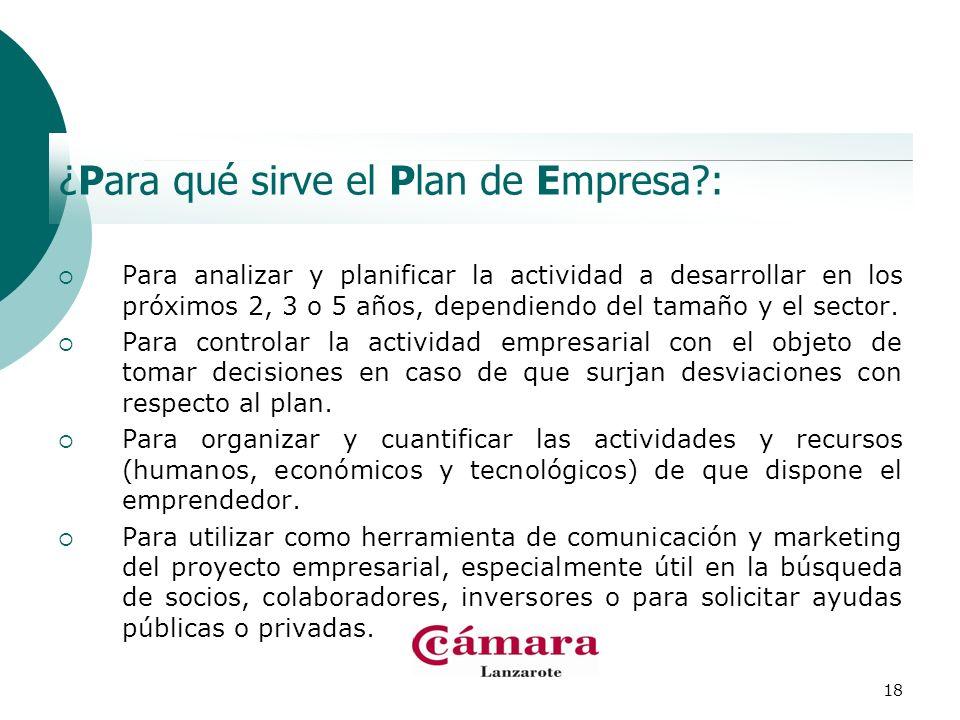 18 ¿Para qué sirve el Plan de Empresa?: Para analizar y planificar la actividad a desarrollar en los próximos 2, 3 o 5 años, dependiendo del tamaño y