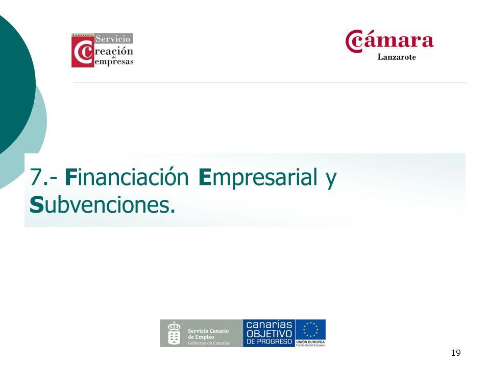 19 7.- Financiación Empresarial y Subvenciones.