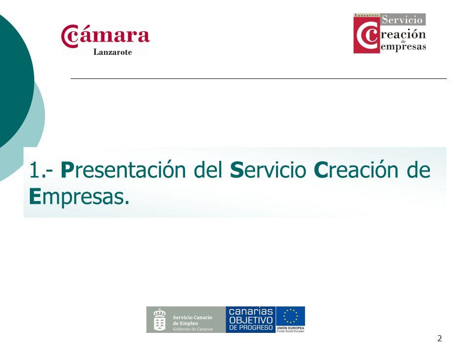 2 1.- Presentación del Servicio Creación de Empresas.