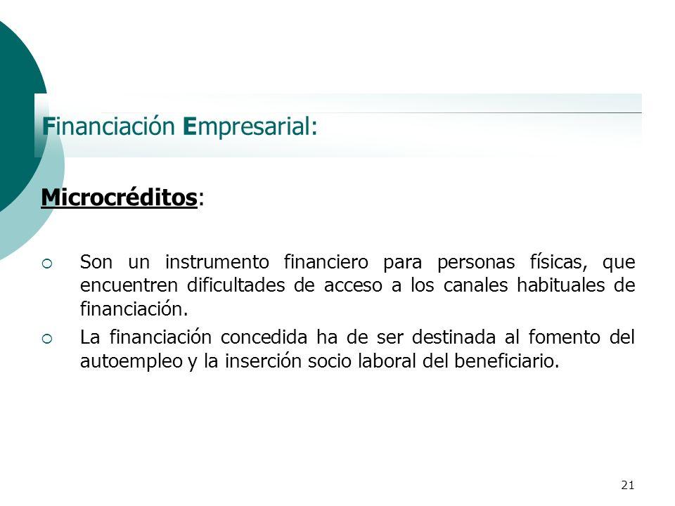 21 Financiación Empresarial: Microcréditos: Son un instrumento financiero para personas físicas, que encuentren dificultades de acceso a los canales h