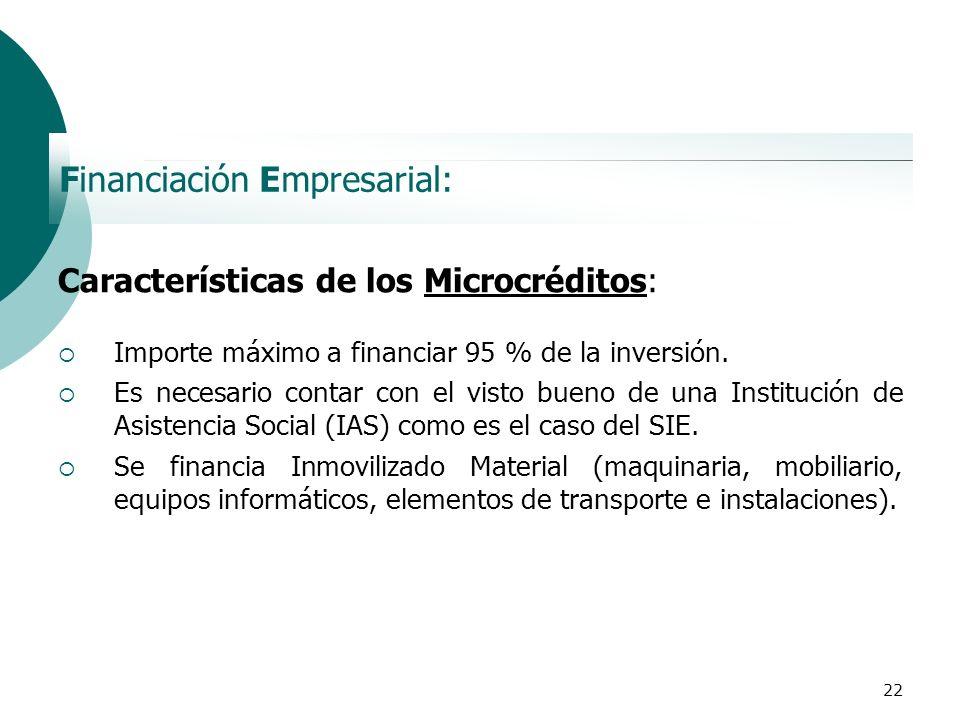 22 Financiación Empresarial: Características de los Microcréditos: Importe máximo a financiar 95 % de la inversión. Es necesario contar con el visto b