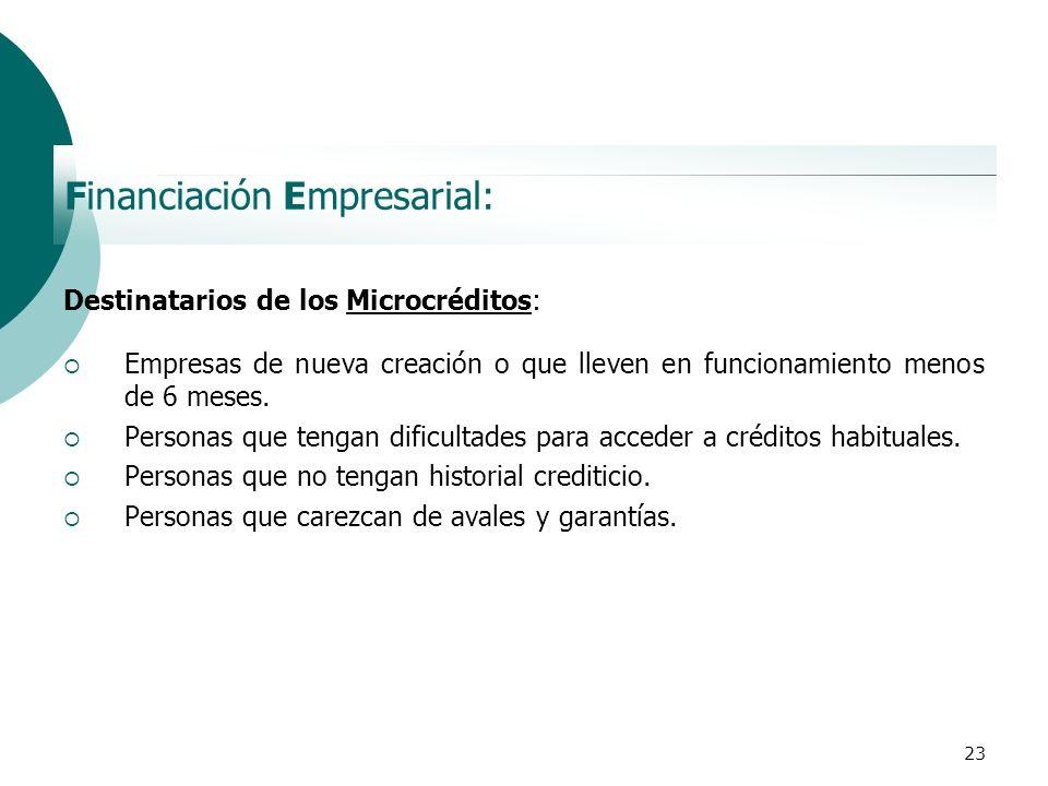 23 Financiación Empresarial: Destinatarios de los Microcréditos: Empresas de nueva creación o que lleven en funcionamiento menos de 6 meses. Personas