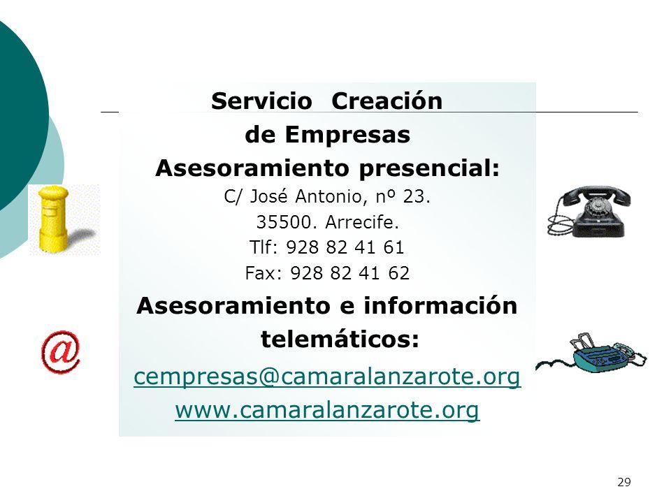 29 Servicio Creación de Empresas Asesoramiento presencial: C/ José Antonio, nº 23. 35500. Arrecife. Tlf: 928 82 41 61 Fax: 928 82 41 62 Asesoramiento