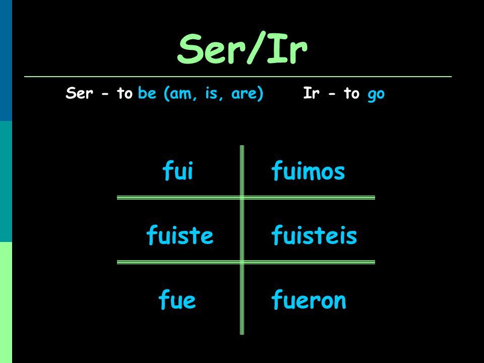 Ser/Ir Ser - toIr - tobe (am, is, are)go fui fuiste fue fuimos fuisteis fueron