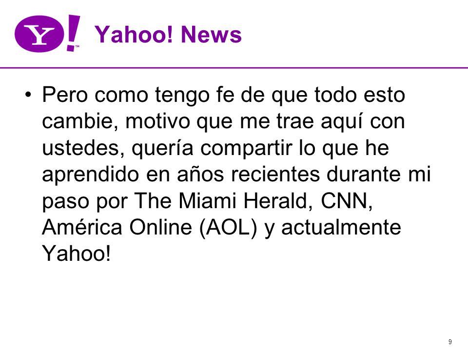 9 Yahoo! News Pero como tengo fe de que todo esto cambie, motivo que me trae aquí con ustedes, quería compartir lo que he aprendido en años recientes