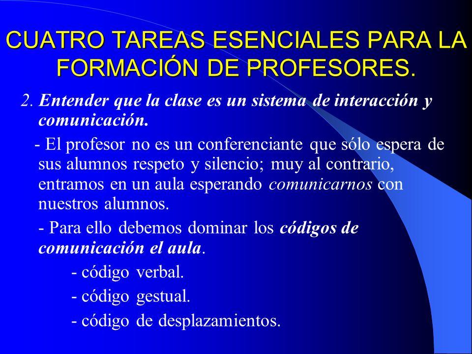 CUATRO TAREAS ESENCIALES PARA LA FORMACIÓN DE PROFESORES.