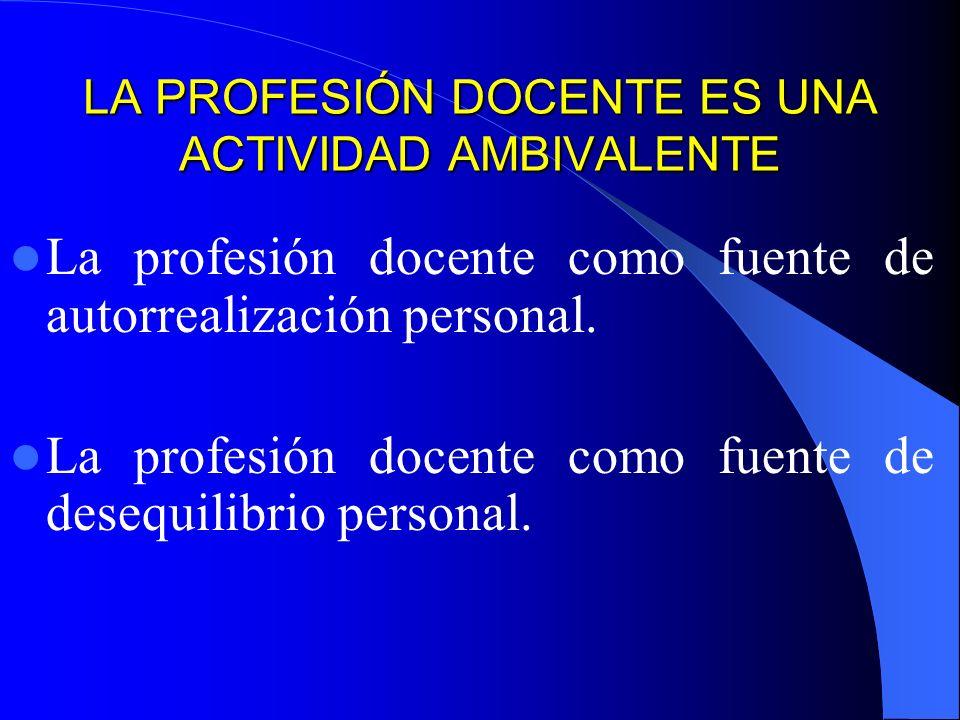 LA PROFESIÓN DOCENTE ES UNA ACTIVIDAD AMBIVALENTE La profesión docente como fuente de autorrealización personal.