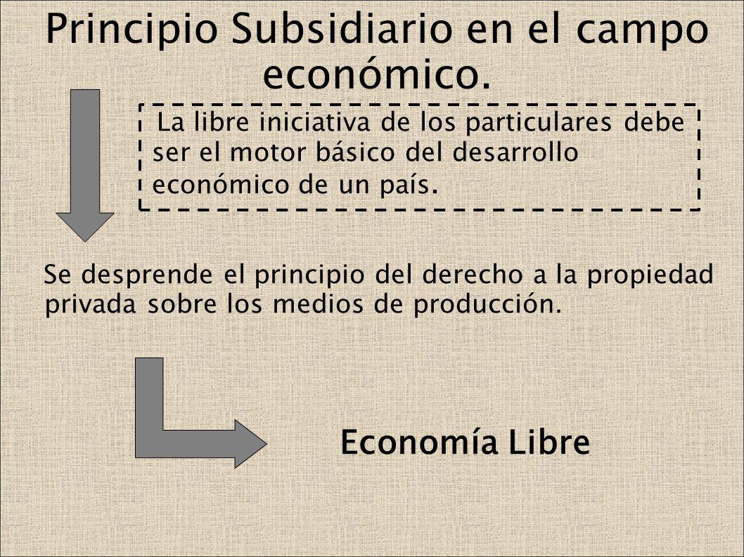Principio Subsidiario en el campo económico. La libre iniciativa de los particulares debe ser el motor básico del desarrollo económico de un país. Se
