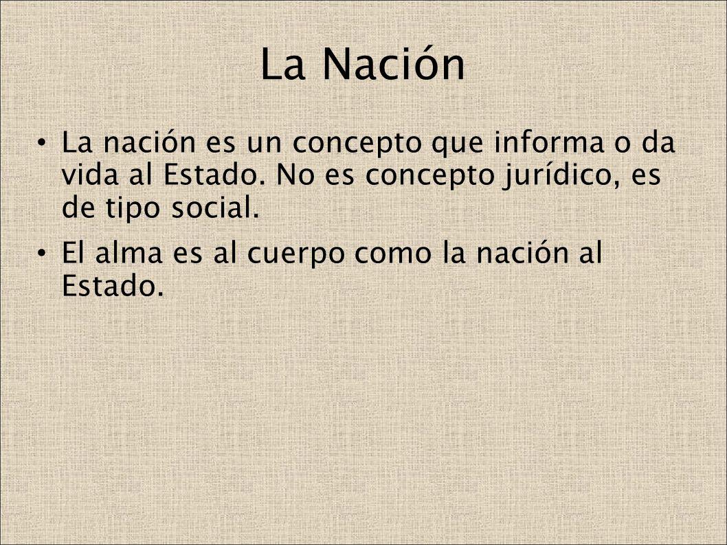 La Nación La nación es un concepto que informa o da vida al Estado. No es concepto jurídico, es de tipo social. El alma es al cuerpo como la nación al