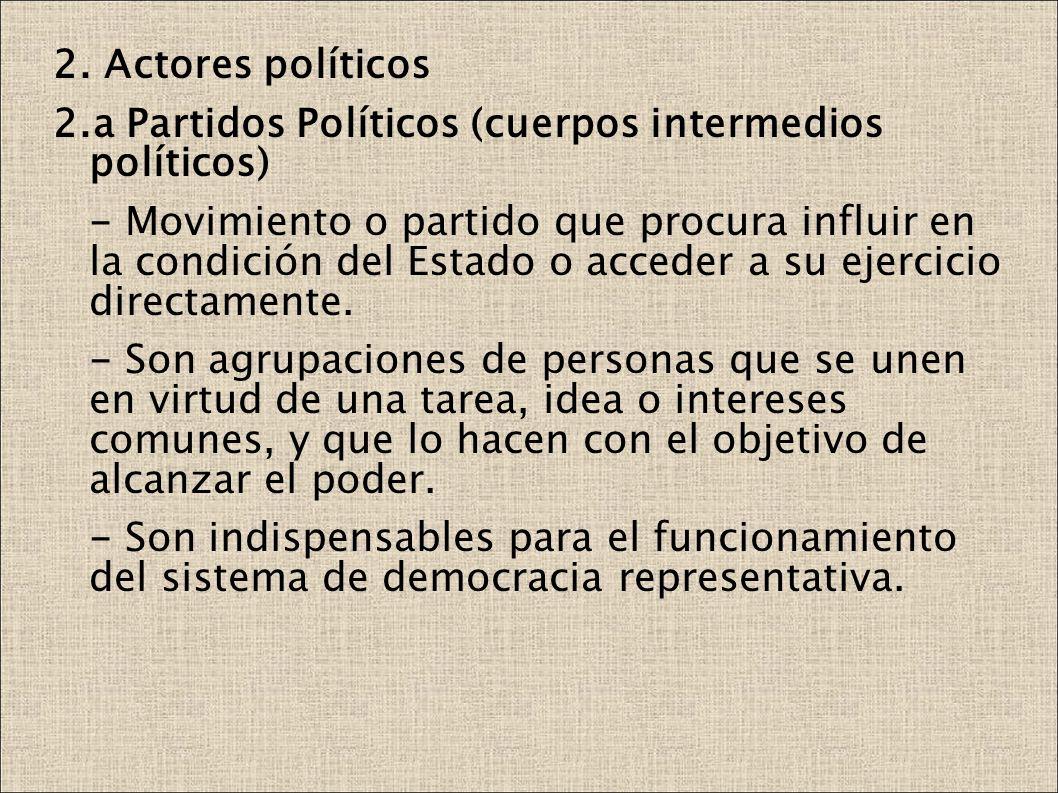 2. Actores políticos 2.a Partidos Políticos (cuerpos intermedios políticos) - Movimiento o partido que procura influir en la condición del Estado o ac