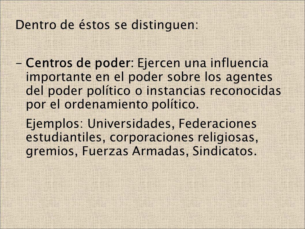 Dentro de éstos se distinguen: -Centros de poder: Ejercen una influencia importante en el poder sobre los agentes del poder político o instancias reco