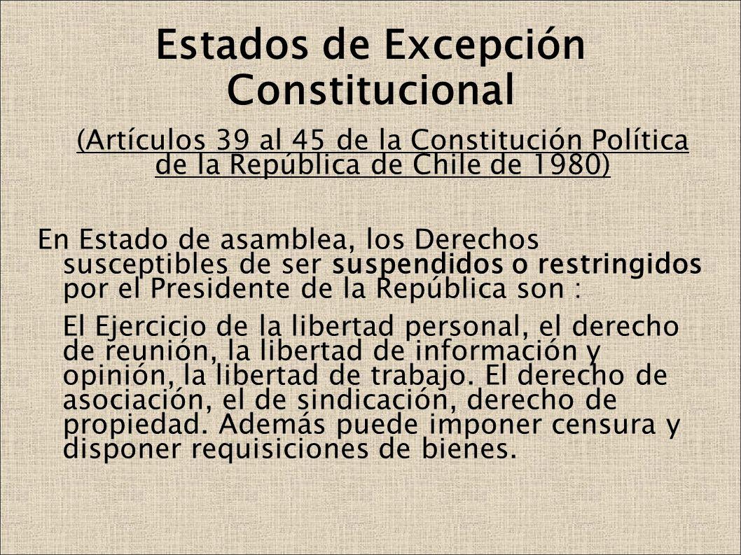 Estados de Excepción Constitucional (Artículos 39 al 45 de la Constitución Política de la República de Chile de 1980) En Estado de asamblea, los Derec