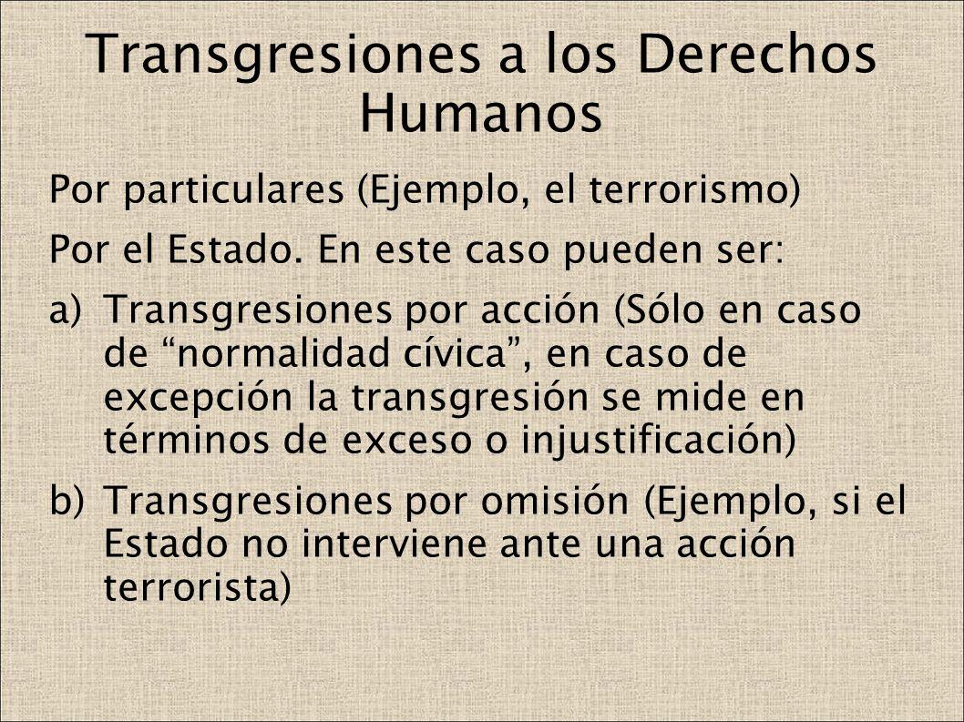Transgresiones a los Derechos Humanos Por particulares (Ejemplo, el terrorismo) Por el Estado. En este caso pueden ser: a)Transgresiones por acción (S