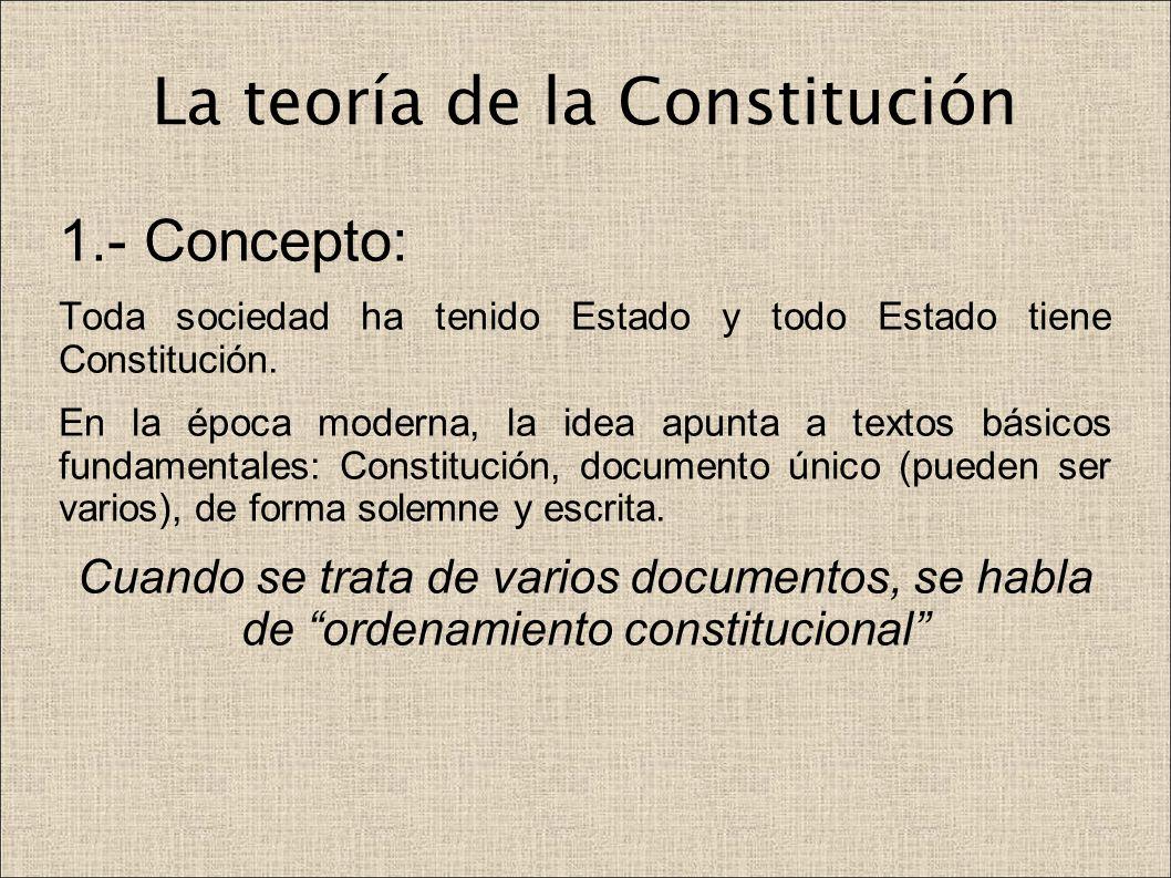 La teoría de la Constitución 1.- Concepto: Toda sociedad ha tenido Estado y todo Estado tiene Constitución. En la época moderna, la idea apunta a text