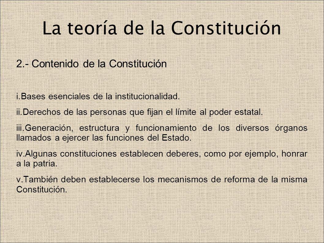 La teoría de la Constitución 2.- Contenido de la Constitución i.Bases esenciales de la institucionalidad. ii.Derechos de las personas que fijan el lím