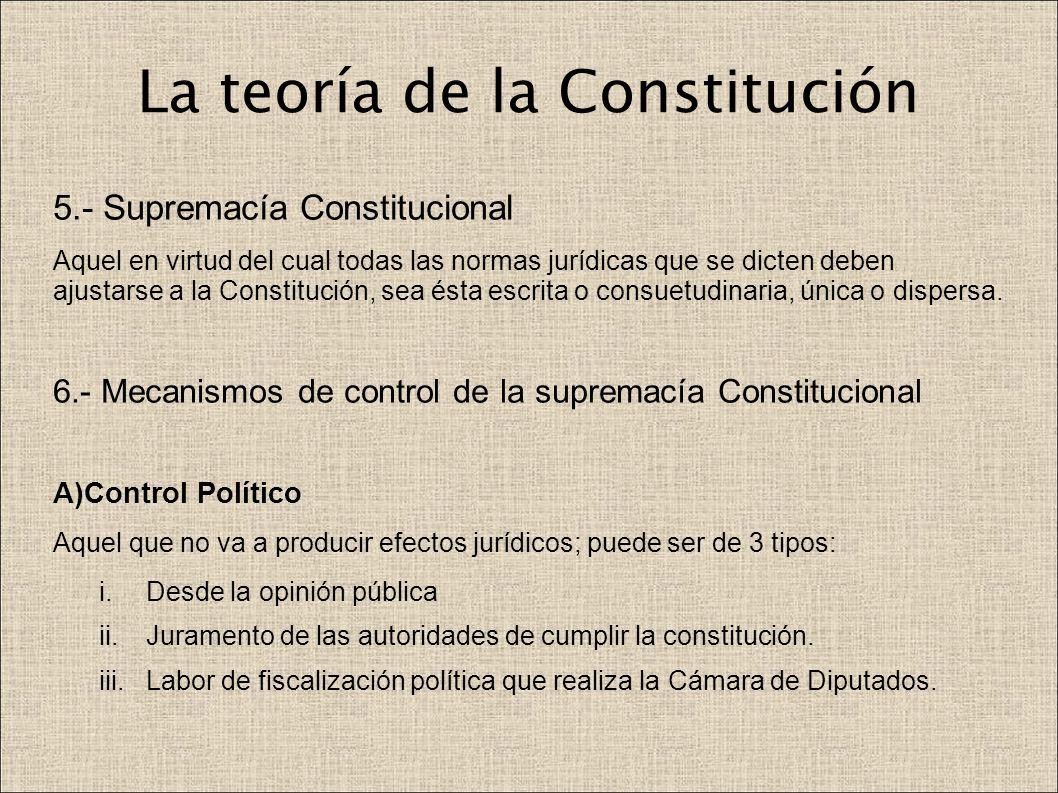 La teoría de la Constitución 5.- Supremacía Constitucional Aquel en virtud del cual todas las normas jurídicas que se dicten deben ajustarse a la Cons